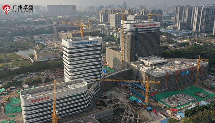广州呼吸中心医院立面大型楼顶发光字案例-卓盛标识