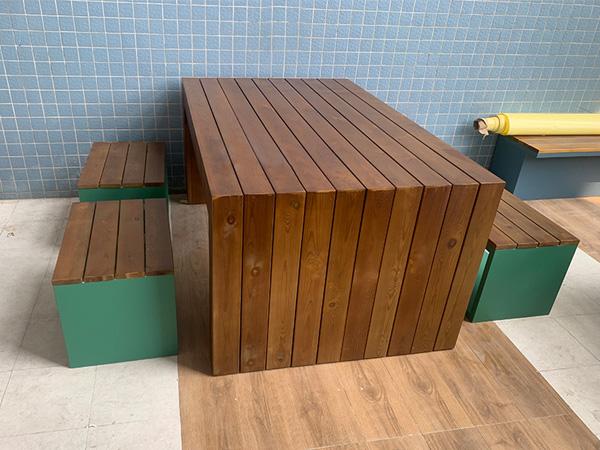 金属烤漆防腐木桌椅定制
